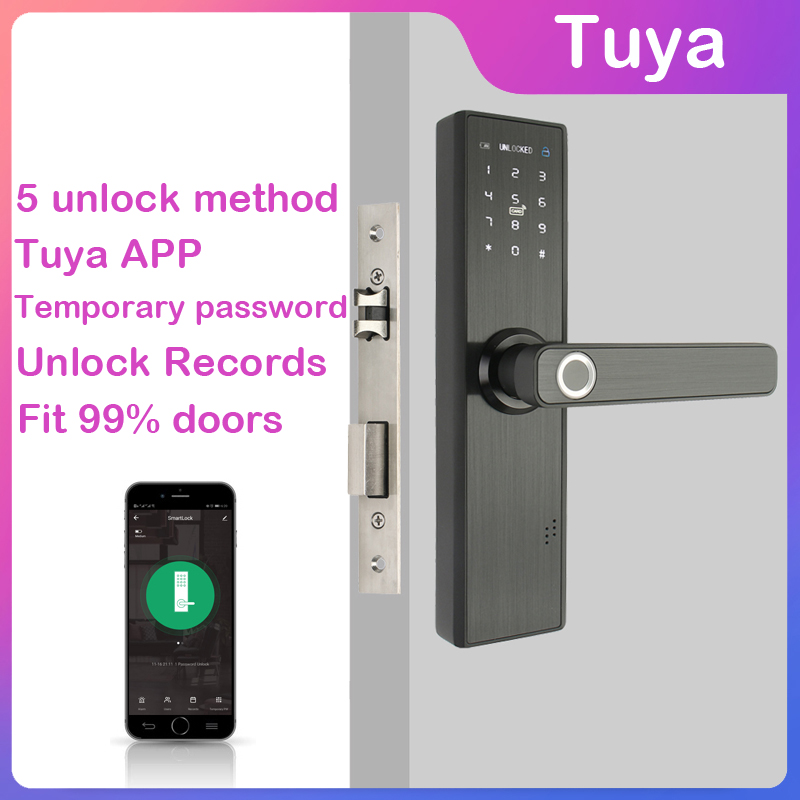RAYKUBE Password Protected Smart Fingerprint Padlock with Wifi Smart Card and Key 6