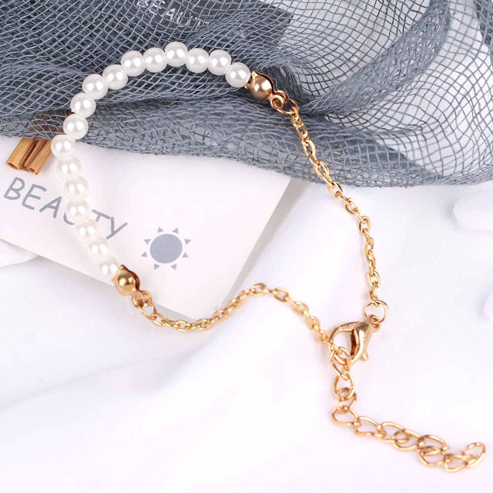 1 adet kadınlar kızlar için basit tarzı güzel el yapımı inci boncuk altın renk zincir bilezik moda bileklik