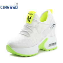 CINESSD Spring Autumn Increasing 9 cm Shoes For Women Casual Wedge Platform Lace-Up Ladies Sneakers Vulcanized YK18