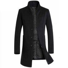 Homem jaqueta de lã design trench coat blusão formal negócios cinza breasted botão masculino trench bolsos casaco de lã