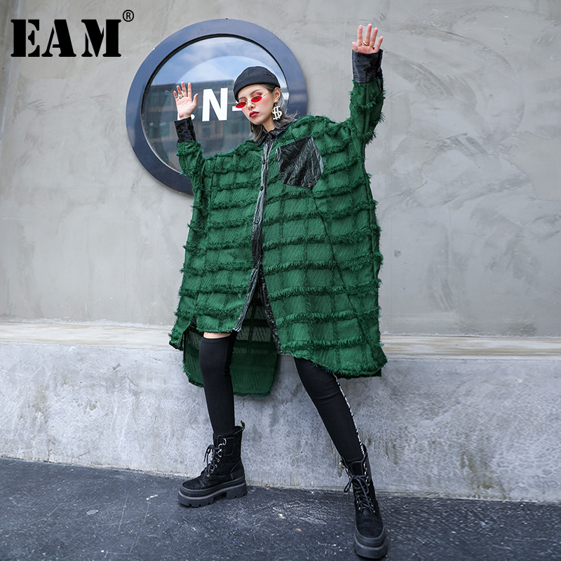 [EAM] Women Green Tassels Big Size Long Blouse New Lapel Long Sleeve Loose Fit Shirt Fashion Tide Spring Autumn 2020 1D618
