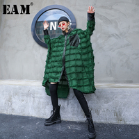[EAM] Women Green Tassels Big Size Long Blouse New Lapel Long Sleeve Loose Fit Shirt Fashion Tide Spring Autumn 2020 1D618