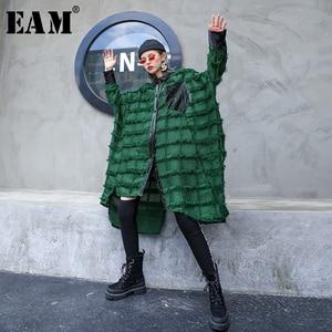 Image 1 - [EAM] Women Green Tassels Big Size Long Blouse New Lapel Long Sleeve Loose Fit Shirt Fashion Tide Spring Autumn 2020 1D618