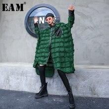 [EAM] kobiety zielone frędzle Big Size długa bluzka nowa z klapami z długim rękawem luźna koszula moda fala wiosna jesień 2020 1D618