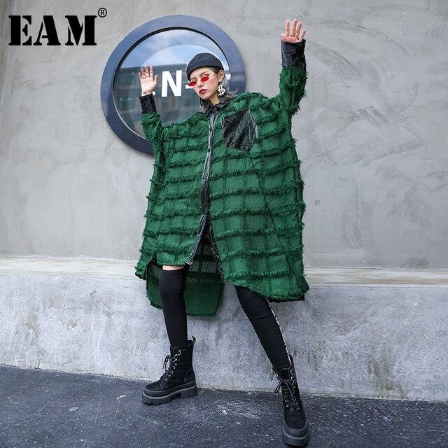 [EAM] נשים ירוק גדילים גדול גודל ארוך חולצה חדש דש ארוך שרוול Loose Fit חולצה אופנה גאות באביב סתיו 2020 1D618