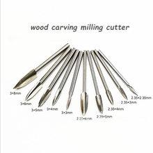 Herramienta de Fresa de madera para tallado, herramienta rotativa de acero blanco, 3-8mm, 5 tamaños, 1 Uds.