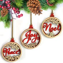 3pc Double Wooden Wall Hanging Decor Deer Letter Pattern Layer DIY Sign with Rope Christmas PGM