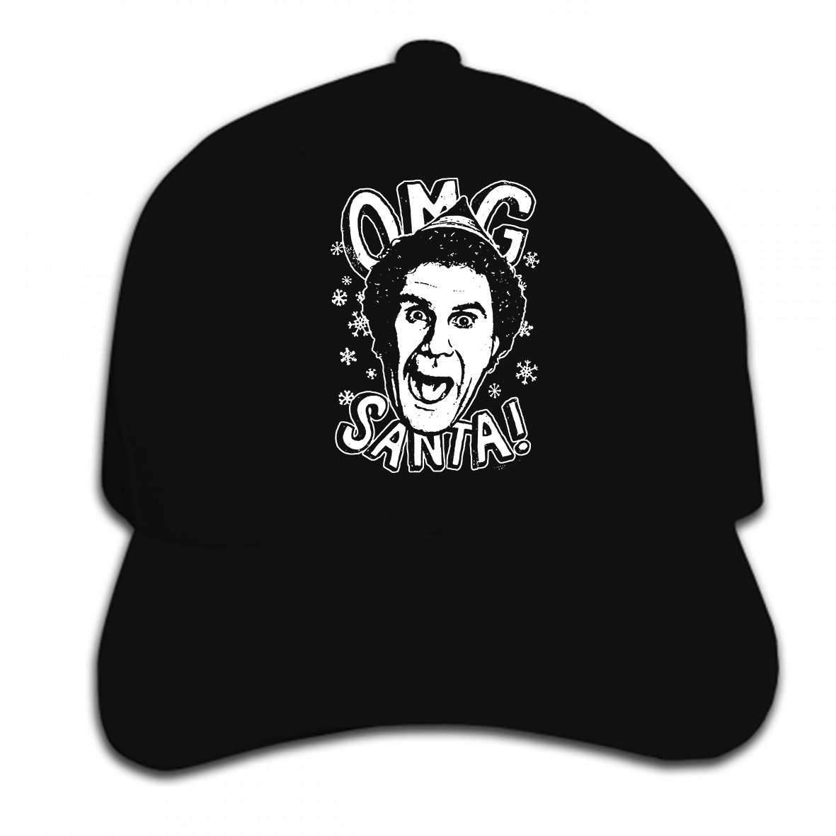 Print Custom Baseball Cap Elf Movie Will Ferrell Face OMG SANTA! Adult Hat Peaked cap image