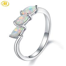 Hutang 6×3 Nano Opal Elegant Rings Solid 925 Sterling Silver Rings Fine Engagement Bridal Jewelry for Women Gift New