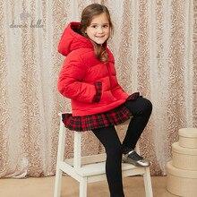 DKH15119 dave bella winter baby girls 5Y-13Y fashion plaid hooded down coat children 90% white duck down padded kids jacket