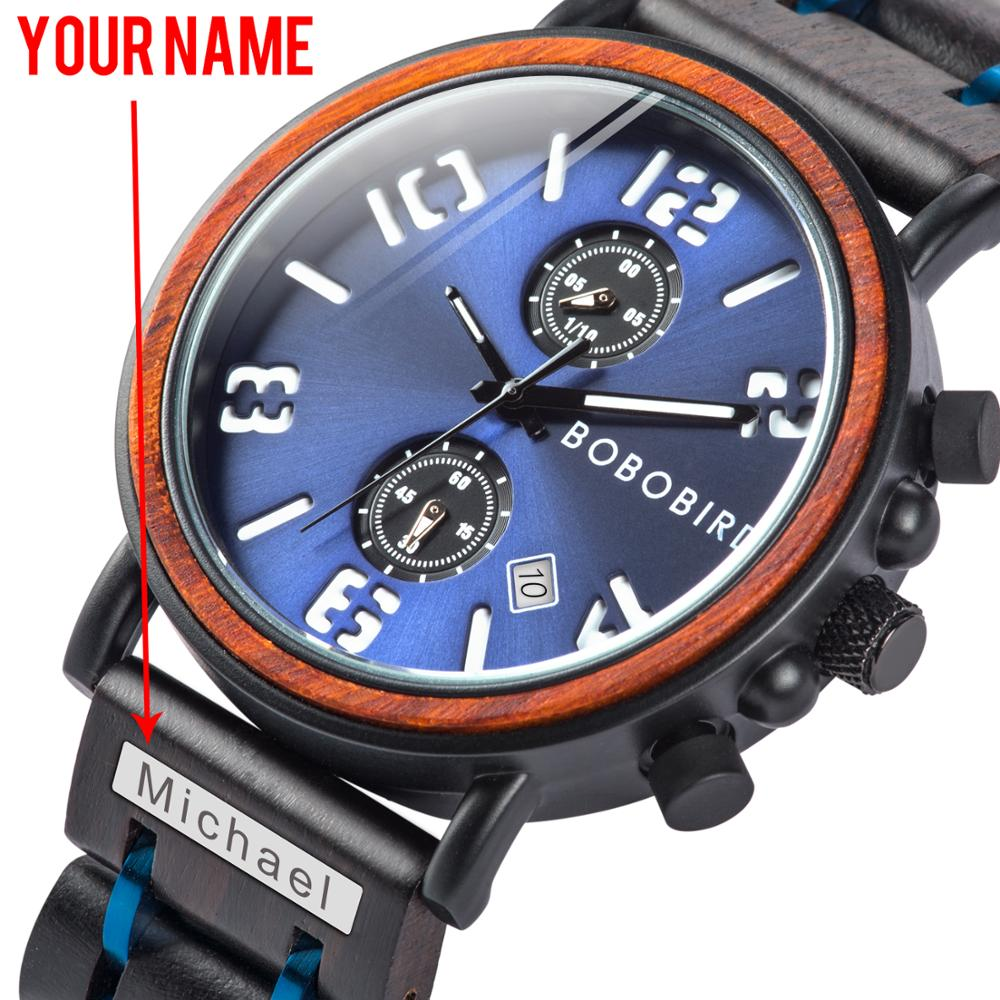 BOBO BIRD Multi-function Wood Watch Men Waterproof Wristwatch Luminious Relogio Masculino Anniversary Gifts Engrave Name On Band