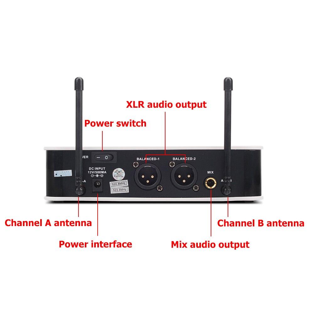 EYK E3002 professionnel système de Microphone sans fil karaoké UHF longue portée double émetteur de micro portable en métal avec fonction muet - 3