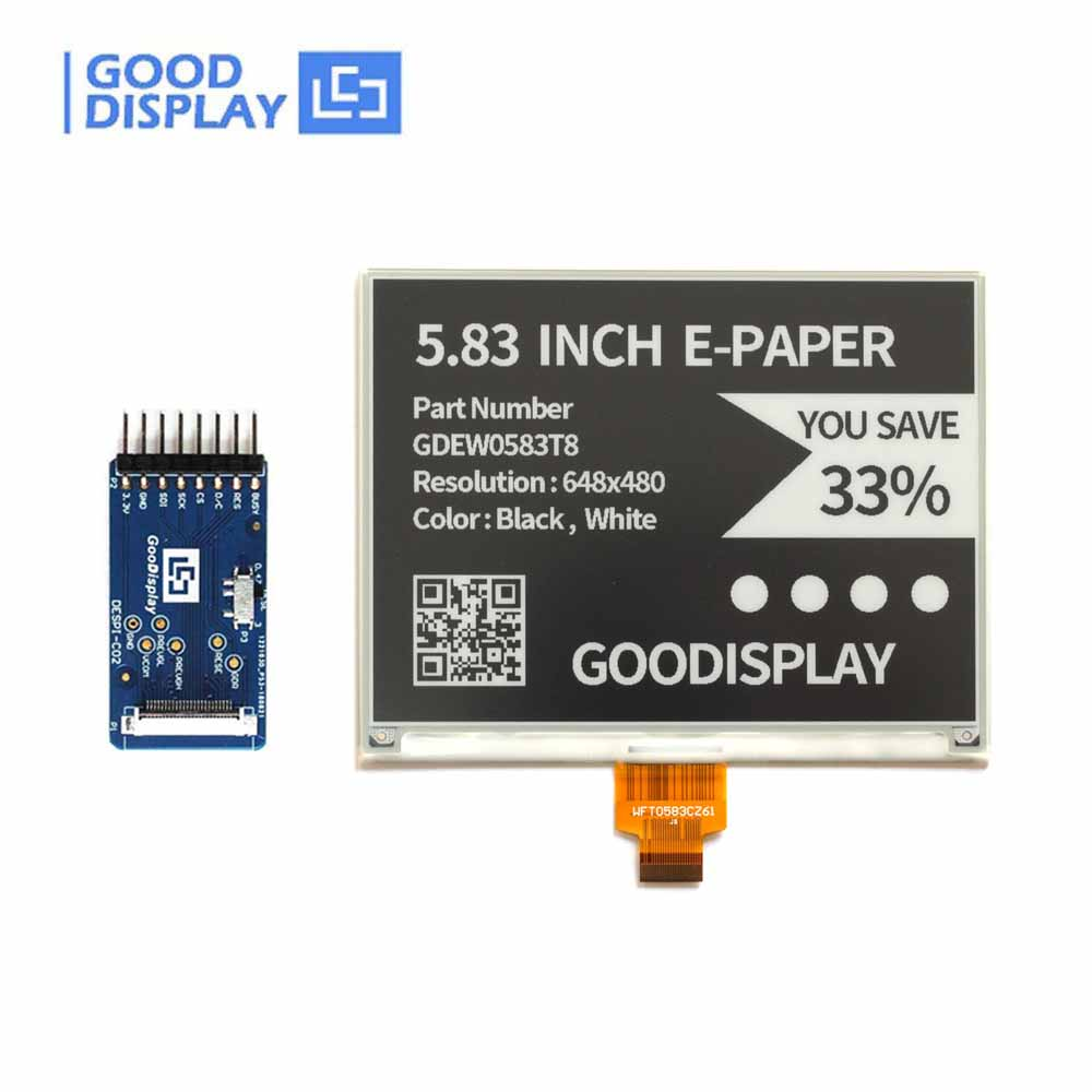 5.83 Inch 648x480 E-Ink Display SPI With EPD Hat