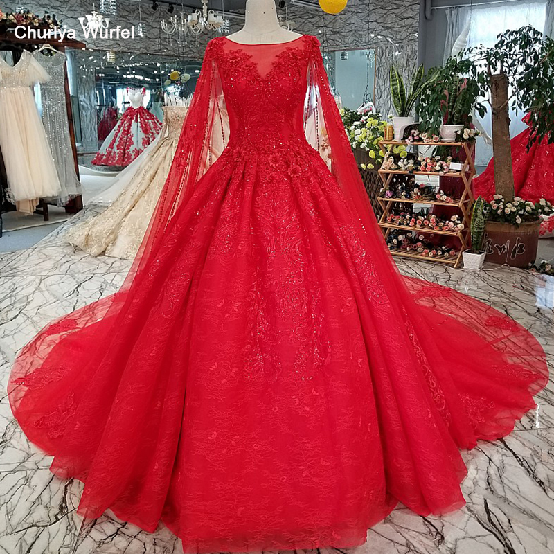 LS01240 red wedding dress short sleeve o neck ball gown elegant dress with long cape for