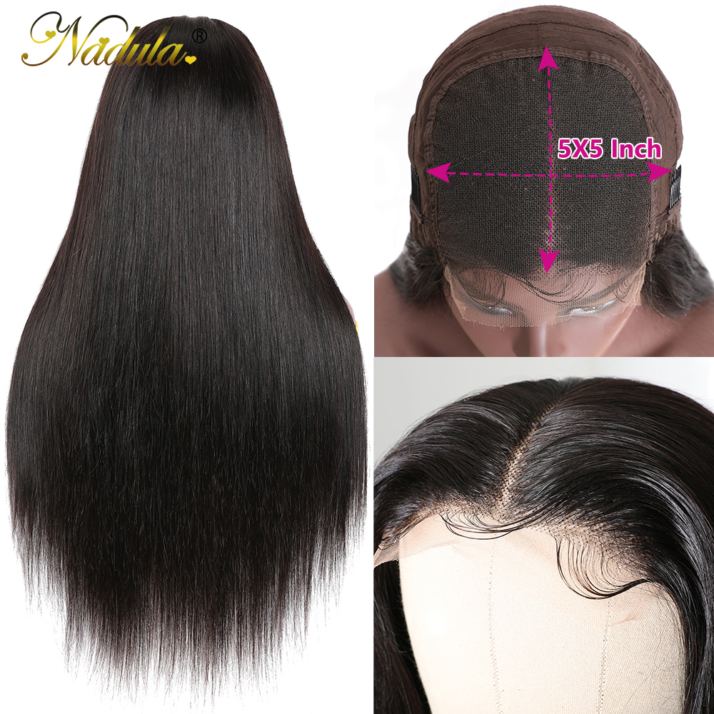 Nadula Hair 5x5 HD Lace Front  Wigs for Black Women Straight Hair HD Lace Frontal Wig brazilian Hair Full Wig 28inch 5