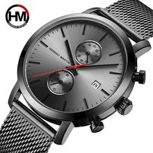 Black Multifunction Chronograph Stainless Steel Mesh Band Waterproof  Men Big Dial Top Brand Luxury Watch Men Fashion Watches