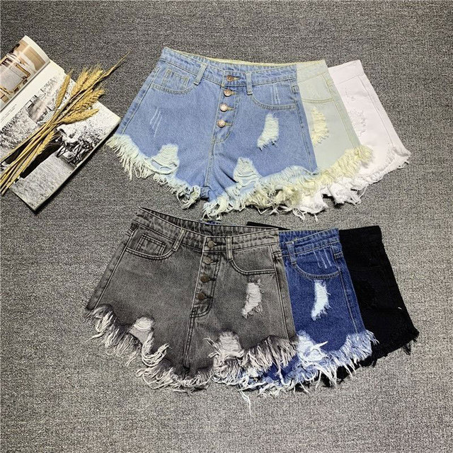 Korea Fashion Summer Women High Waist Button Sexy Hole Rippe Jean Shorts Cotton Demin Loose Shorts Plus Size Hot Shorts D212 2