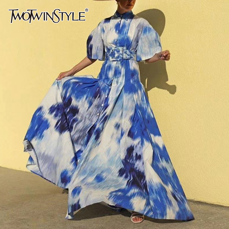 TWOTWINSTYLE Elegant Tie-dye Women Dress Lapel Collar Puff Short Sleeve High Waist With Sashes Hit Color Maxi Dresses For Female