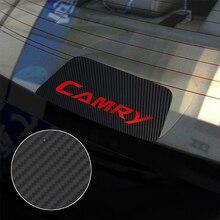 Rkac luz de freio traseiro acessórios automóveis preto fibra carbono adesivos proteção decorações estilo do carro para toyota camry
