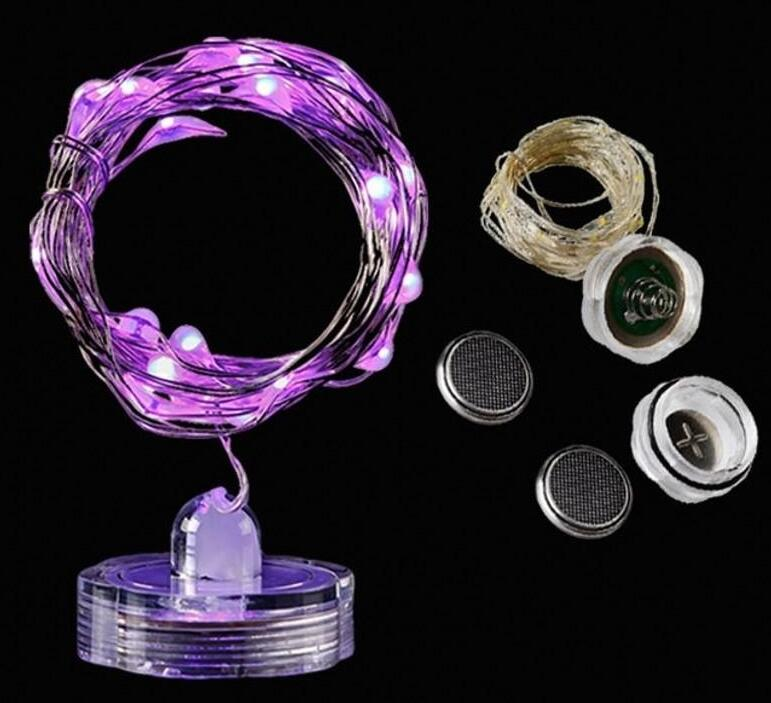 LED Waterproof Candles Copper String Lights Battery Submersible String Lights Christmas Holiday Home Decoration Light 2m