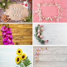 SHENGYONGBAO Vinyl Custom Photography Backdrops  Flower and Wooden Planks Theme Background 191030BV-005