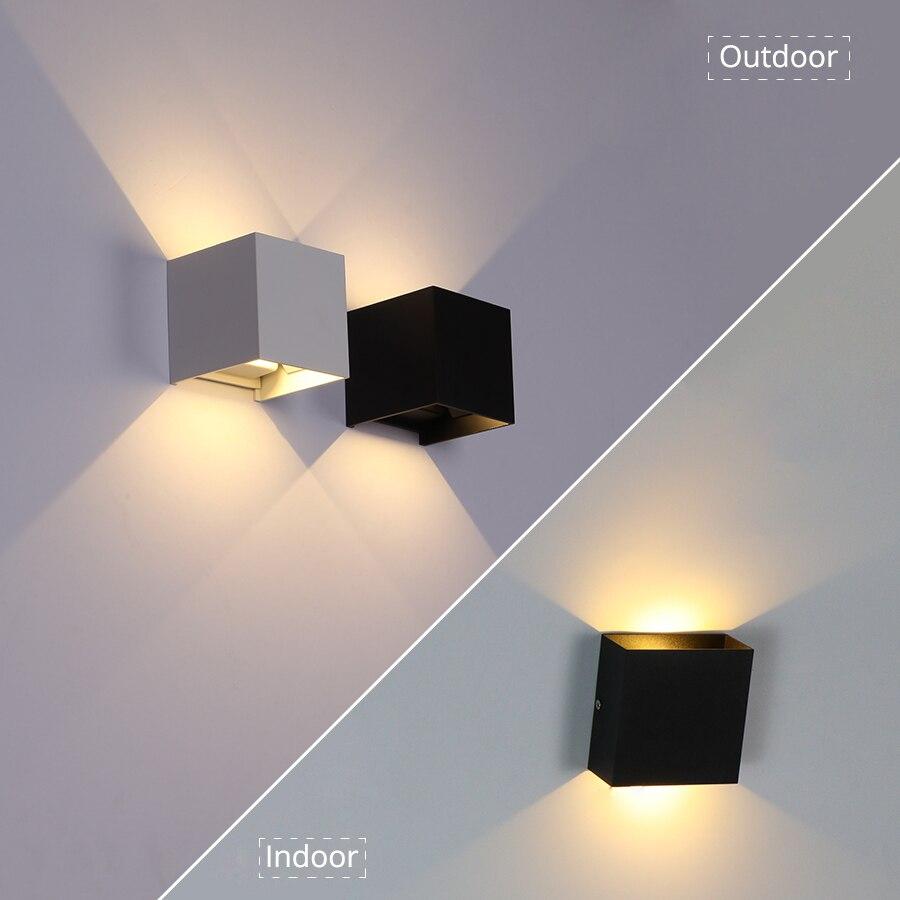 6 W/10 W LED luz de pared al aire libre impermeable IP65 porche jardín lámpara de pared y Interior dormitorio cabecera decoración lámpara de iluminación de aluminio