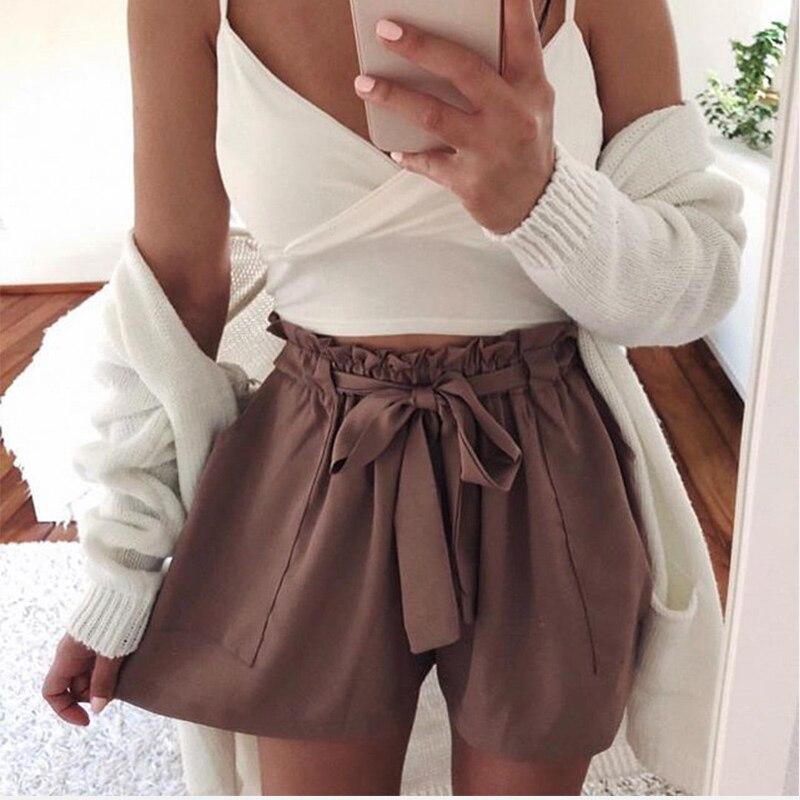 Summer Wide Leg Shorts For Women Plus Size 3XL High Waist Sashes Ruffled Women's Shorts 2020 Fashion Casual Hot Shorts Female