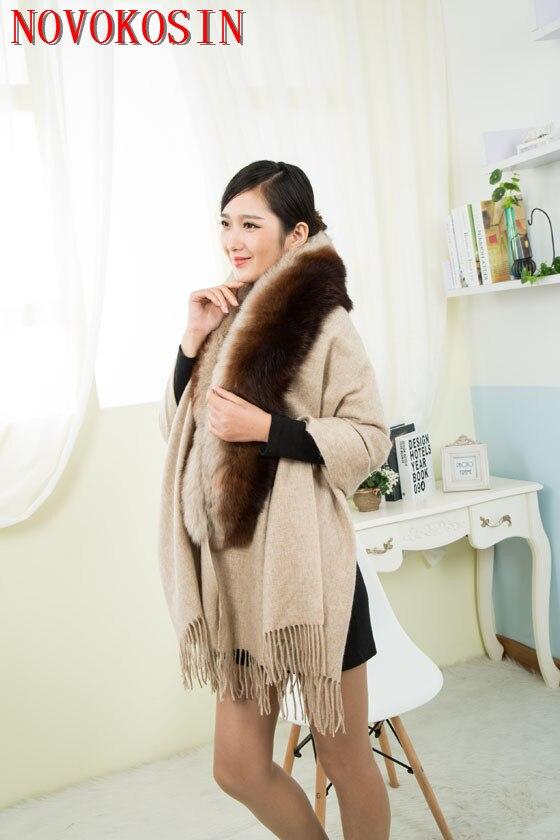 SC399 2019 Fashion Dye Big Real Fox Fur Neck Shawl Autumn Winter Pashmina Wool Cashmere Scarf  Warm Tassel Rectangle Wrap