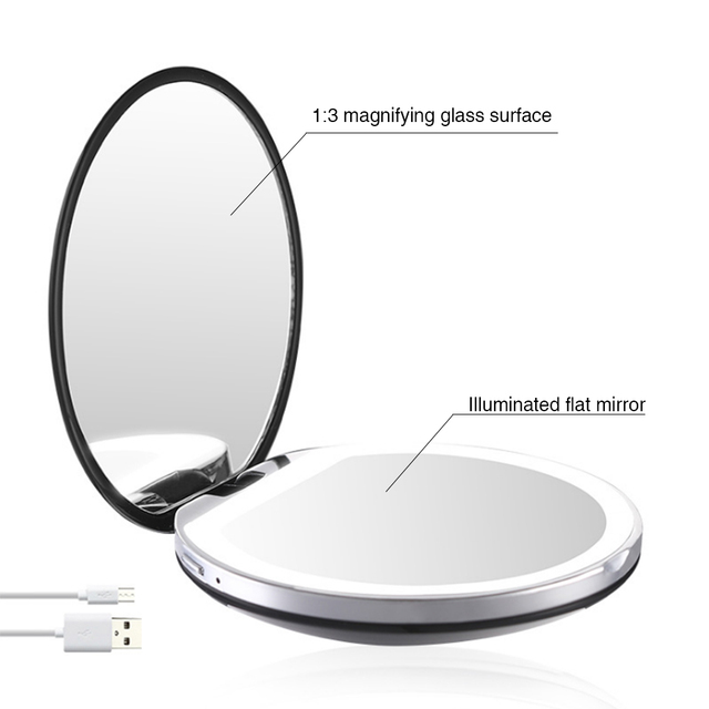 5 Colors 3X Magnifying Lighted Makeup Mirror Light Mini Round Portable LED Make Up Mirror Sensing USB Chargeable makeup mirror 2