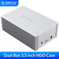 ORICO-caja de disco duro externo de 3,5 pulgadas, Funda de disco duro de aleación de aluminio SATA a USB3.0 SSD, estuche de caja de HDD, compatible con 20TB
