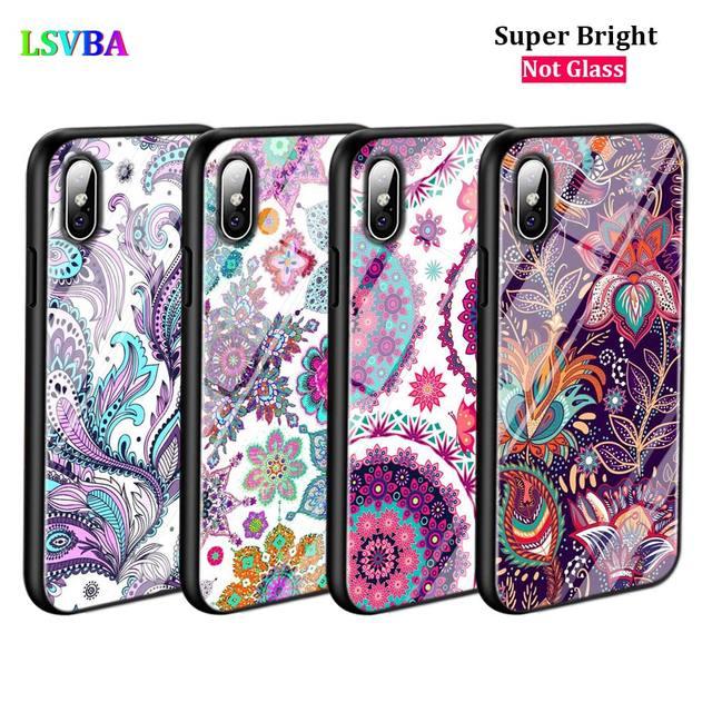 Couverture noire fleur Mandala henné pour iPhone 11 11Pro X XR XS Max pour iPhone 8 7 6 6S Plus 5 S 5 SE coque de téléphone brillante