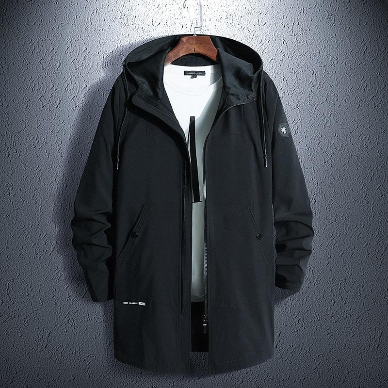 Jacket Coat Hooded Windbreaker-Print Streetwear Autumn Long Men's Bomber Hip-Hop Loose