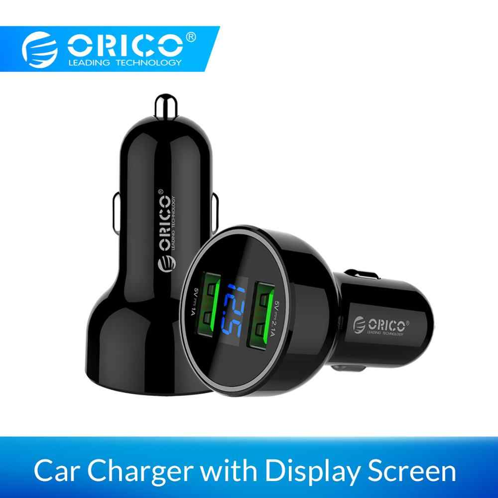 ORICO UPK-2U Smart Car Charger with LCD Screen Fast Charge Adapter for Mobile Phone Tablet Dual Output USB Car Charger