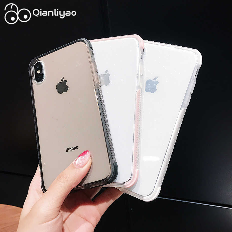 Qianliyao Shining Glitter Phone Case For iPhone X XR XS Max 8 7 6 6S Plus 11 Pro Max Transparent Soft TPU Shockproof Back Cover