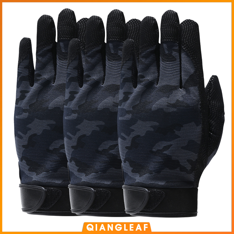 QIANGLEAF 3pcs Pu Work Gloves Anti-Slip Hunting Camping Cycling Camouflage Outdoor Sport Fishing Safety Cycling Glove 2500MC