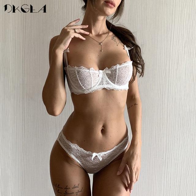 Ultrathin lingerie set plus size bras A B C Cup sexy lace bra set transparent women underwear black embroidery Bow 1