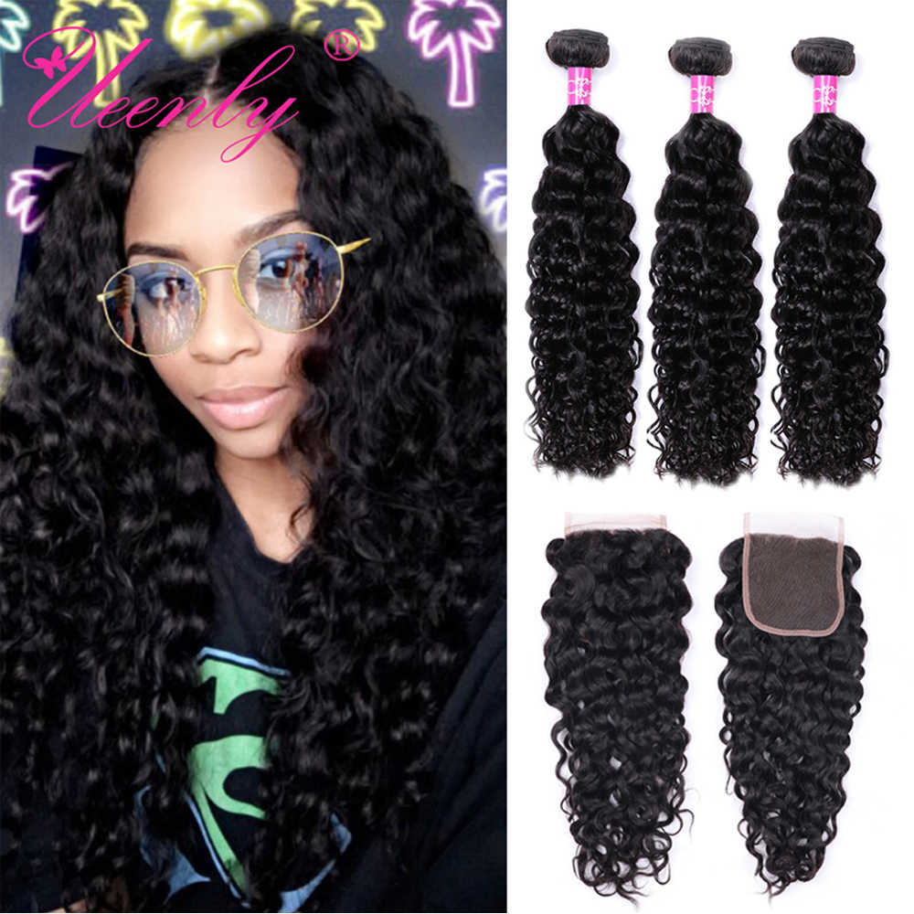 UEENLY Brazilian Water Wave Bundles With Closure Remy Human Hair Bundles With Closure Free Shipping 3 Bundles With Closure