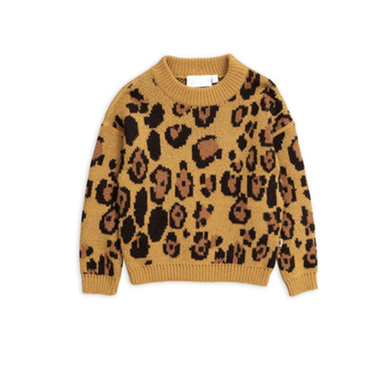 European and American Style Baby Girls Sweater Cartoon letter leopard Boys Sweater Tops Kids Clothing Pullover For Girls Sweater