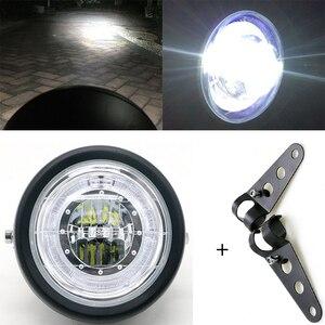 Image 1 - Светодиодный налобный фонарь для мотоцикла, универсальное освесветильник для мотоцикла 7 дюймов, 12 В постоянного тока, модный головной фонарь для скутера с мотором в стиле ретро, черный, круглый светодиод