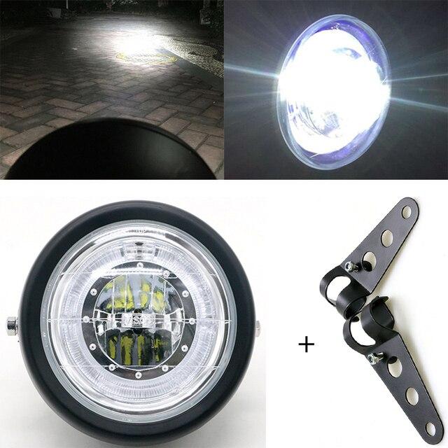 Светодиодный налобный фонарь для мотоцикла, универсальное освесветильник для мотоцикла 7 дюймов, 12 В постоянного тока, модный головной фонарь для скутера с мотором в стиле ретро, черный, круглый светодиод