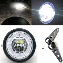 LED دراجة نارية كشافات العالمي 7 بوصة دراجة نارية تجديد المصباح تيار مستمر 12 فولت سكوتر موضة رئيس ضوء المحرك ريترو الأسود مصابيح led مستديرة