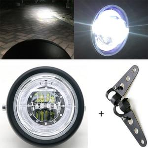 Image 1 - LED Motorcycle Headlamp Universal 7 Inch Motorbike Refit Headlight DC 12V Scooter Fashion Head Light Motor Retro Black Round led