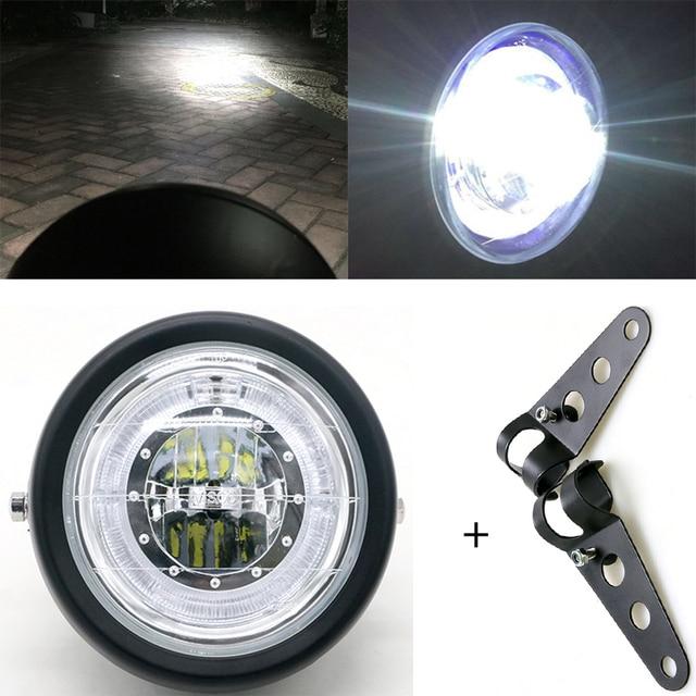 LED Motorcycle Headlamp Universal 7 Inch Motorbike Refit Headlight DC 12V Scooter Fashion Head Light Motor Retro Black Round led