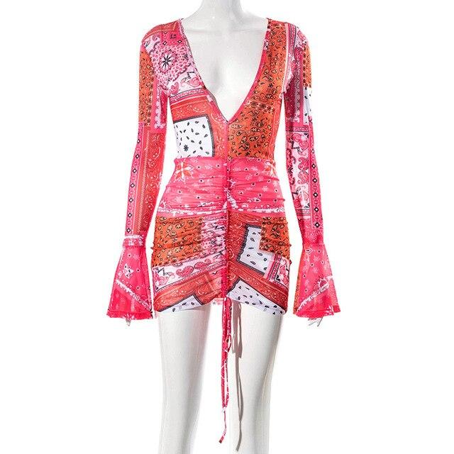 ANJAMANOR Pink Bandana Mesh Bodyocn Dress Club Outfits for Women Flared Long Sleeve Deep V Neck Draw String Mini Dress D85-BE12 5