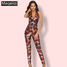Camouflage Sequin Jumpsuit Women Halter Backless Sexy Romper One Piece Glitter Holiday Party Jumpsuits Sparkly Bodycon Jumpsuit(China)