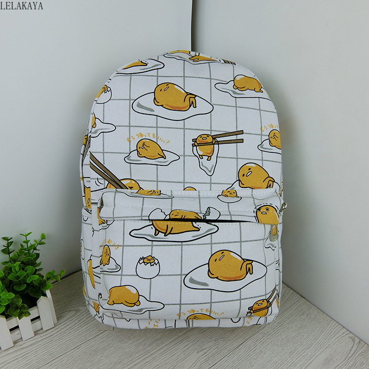 Cartoon Cat Yellow Gudetama Lazy Egg Student Shoulder Bags Action Figure Printed Canvas Kids Fashion School Backpack gifts NewAction & Toy Figures   -