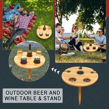 1PC Wine Table 30*30cm Portable Wine Glass Rack Made of Wooden Picnic Table for Home Outdoor Garden Travel Camping