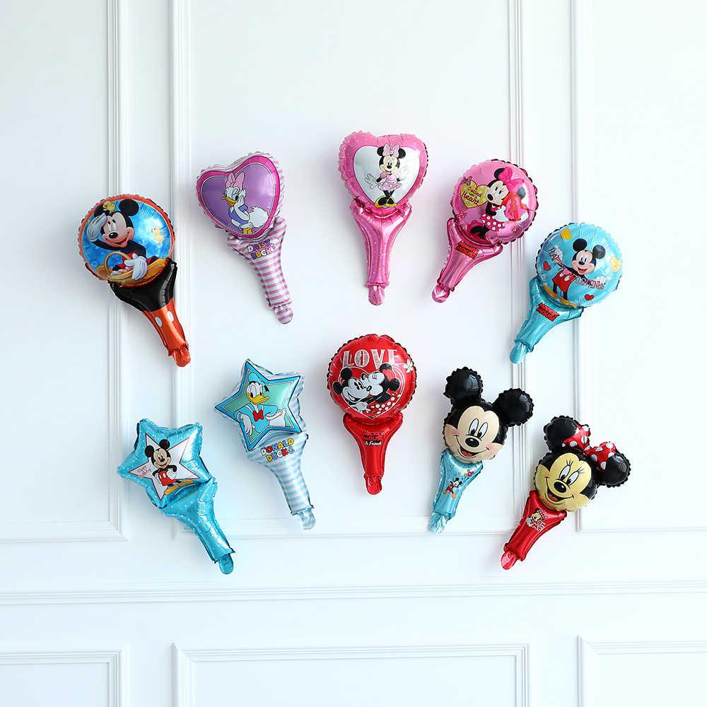 10 sztuk księżniczka ręcznie z balonów foliowych Elsa Ana mickey minnie kije balon księżniczka Baloes dekoracje na imprezę urodzinową dla dzieci