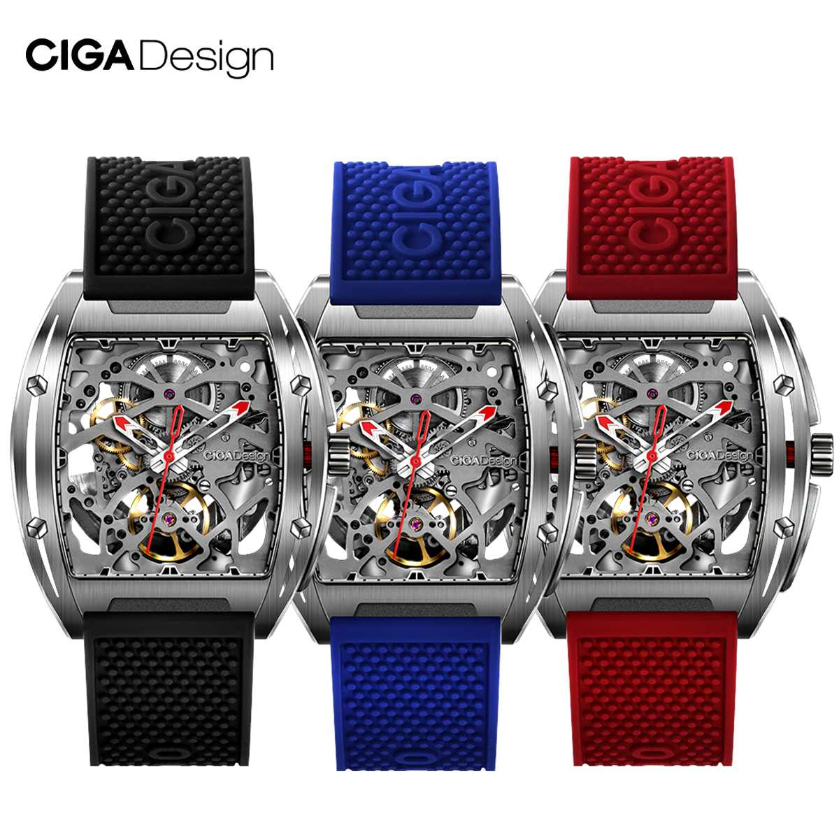 Reloj CIGA de diseño CIGA reloj Serie Z reloj en forma de barril de doble cara hueco automático esqueleto mecánico reloj impermeable para hombre 20m 22mm de goma de Nylon de reloj de silicona banda reloj Omega Correa Seamaster Planet Ocean 8900 9900 naranja negro azul pulseras