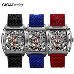 Reloj CIGA de diseño CIGA reloj Serie Z reloj en forma de barril de doble cara hueco automático esqueleto mecánico reloj impermeable para hombre